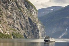 Norwegian fjord landscape. Storfjorden. Hellesylt, Geiranger cru. Ise travel. Tourism Stock Photos