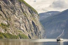 Norwegian fjord landscape. Storfjorden. Hellesylt, Geiranger cru. Ise travel. Tourism Royalty Free Stock Photos