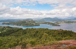 Norwegian fjord landscape and surrounding islands Royalty Free Stock Photo