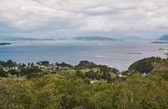 Norwegian fjord landscape and surrounding islands stock photo
