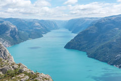 Norwegian Fjord Lysefjorden. Lysefjorden seen from above. Photo taken from hiking trail to famous Pulpit Rock in Rogaland in Norway Stock Photo
