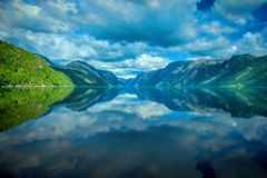 Norwegian fjord and mountains Stock Photo