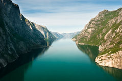 Norwegian fjord and mountains. Kjerag. Plateau, Lysefjord, Norway Royalty Free Stock Images