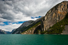 Norwegian fjord and mountains. Lysefjord Stock Images
