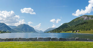 Norwegian fjord and mountains Royalty Free Stock Photos
