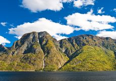 Norwegian Fjord: Mountains and sky Stock Images