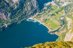 Norwegian fjord and mountains in summer. Lysefjord Norway royalty free stock photography