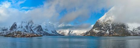 Norwegian fjord and mountains in winter. Lofoten islands, Norway stock photo