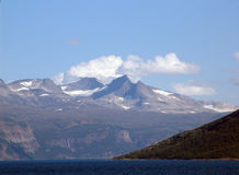 Norwegian fjord. View of the coastline of the fjord from the ferry stock images