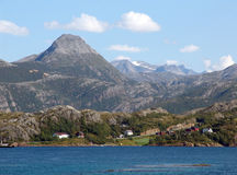 Norwegian fjord. View of the coastline of the fjord from the ferry stock image
