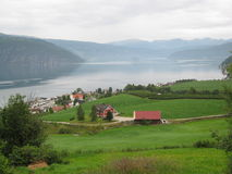 Norwegian fjord. Village, wonderful nature Royalty Free Stock Photography