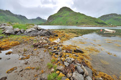 Norwegian fjord wild landscape. With boat Royalty Free Stock Photos