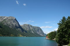 Norwegian fjords. Beautiful lanscapes from norwegian fjords  in the summer - europe travel Royalty Free Stock Photos