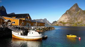 Norway Lofoten Fjord, Arctic Mountain Landscape Royalty Free Stock Photo