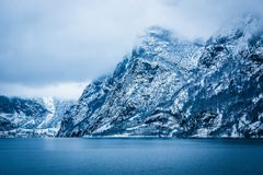 Norwegian Fjords. Beautiful mountain landscape with the Norwegian fjords in winter Royalty Free Stock Photography
