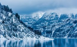 Norwegian Fjords. Beautiful mountain landscape with the Norwegian fjords in winter Stock Image