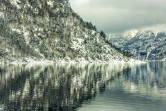Norwegian Fjords. Beautiful mountain landscape with the Norwegian fjords in winter Royalty Free Stock Images
