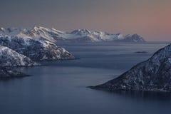 Norwegian fjords after dusk Stock Photo