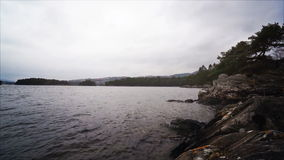 Norwegian fjords and mountains. Rocky shore, waves and trees stock footage