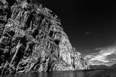 Norwegian fjords. Sky, water in black & white Royalty Free Stock Image