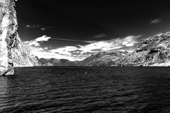 Norwegian fjords. Sky, water, BW Royalty Free Stock Photography
