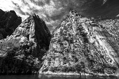 Norwegian fjords. Sky, water, BW Royalty Free Stock Photo