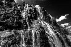 Norwegian fjords. Sky, water, BW Royalty Free Stock Image