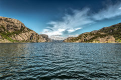Norwegian fjords. Sky, water, color Royalty Free Stock Photos