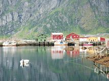 Norwegian Fjords. A small fishing village at end of fjiord Royalty Free Stock Photos