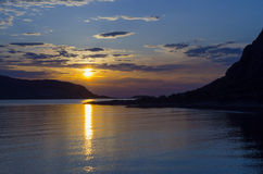 Norwegian fjords sunset Royalty Free Stock Photo