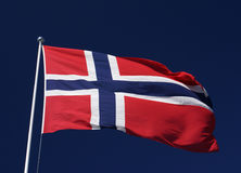 Norwegian flag. And a blue sky Royalty Free Stock Images