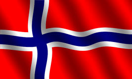 Norwegian flag. With waving effect Stock Images