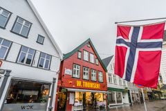 Norwegian flag in Bergen city centre Stock Photography