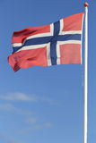 Norwegian flag. Blowing in the wind stock photo
