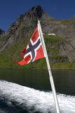 Norwegian flag on boat Stock Photos