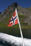 Norwegian flag on boat Stock Photos