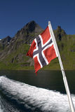 Norwegian flag on boat Stock Photography