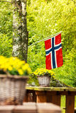 Norwegian flag and green picnic site Stock Photography
