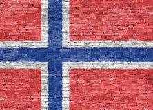 Norwegian flag over wall. Norwegian flag over old brick wall Stock Photos