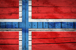 Norwegian flag painted on wooden boards Royalty Free Stock Image