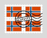 Norway flag on postage stamps Royalty Free Stock Photos