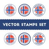 Norwegian flag rubber stamps set. National flags grunge stamps. Country round badges collection Royalty Free Stock Images