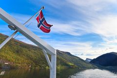 Norwegian flag on the ship. Royalty Free Stock Images