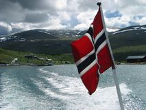 Norwegian flag on a stern of a boat Royalty Free Stock Images