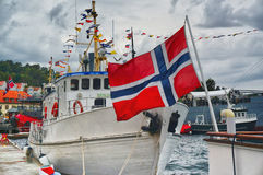 Norwegian flag waving on the ship Royalty Free Stock Images