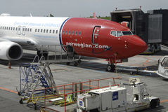 NORWEGIAN FLIGHT PARKED Stock Image