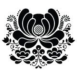 Norwegian folk art black and white pattern - Rosemaling style embroidery. Vector background of floral folk art from Norway isolated on white royalty free illustration