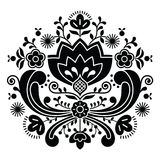 Norwegian folk art Bunad black pattern - Rosemaling style embroidery. Vector background of floral folk art from Norway isolated on white stock illustration