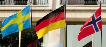 Norwegian, German, Sweeden flags Stock Photo