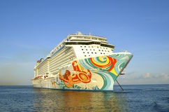 The Norwegian Getaway. COZUMEL, MEXICO, February 16, 2016: The Norwegian Getaway anchored in the Caribbean Sea belongs to the Norwegian Cruise Line Holdings is a Stock Images